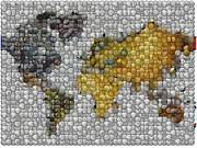 Coin Mixed Media Prints - World Map Coin Mosaic Print by Paul Van Scott