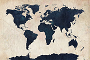 Globe Digital Art Metal Prints - World Map Distressed Navy Metal Print by Michael Tompsett