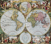 World Map Photos - World Map From Schencks Atlas by Photo Researchers