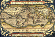 World Map Canvas Drawings Prints - World map from the Theatrum Orbis Terrarum 1570 Print by Pg Reproductions