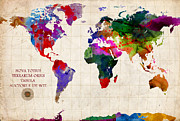 Map Art Mixed Media Prints - World Map Print by Gary Grayson