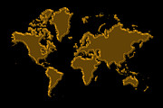 World Map Photos - World Map Gold by Andrew Fare