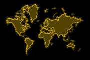 World Map Photos - World Map Gold Dust by Andrew Fare