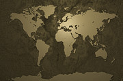 Metalwork Prints - World Map Gold Print by Michael Tompsett