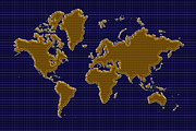 World Map Photos - World Map Grid by Andrew Fare