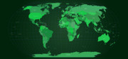 Planet Digital Art Metal Prints - World Map in Green Metal Print by Michael Tompsett