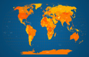 Atlas Digital Art Prints - World Map in Orange and Blue Print by Michael Tompsett