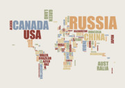 Modern Metal Prints - World Map in Words 2 Metal Print by Michael Tompsett