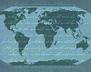 World Map Digital Art Acrylic Prints - World map Acrylic Print by Janet Carlson