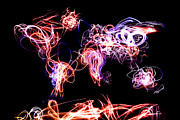 Earth Digital Art - World Map Light Writing by Michael Tompsett