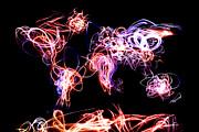 World Map Light Writing Print by Michael Tompsett