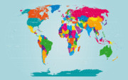Global Prints - World Map  Print by Michael Tompsett
