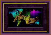 Musical Map Metal Prints - World Map Music Metal Print by Daryl Macintyre