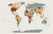 Country Digital Art Posters - World Map Muted Colors Poster by Michael Tompsett