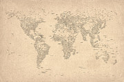 World Map Prints - World Map of Cities Print by Michael Tompsett
