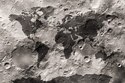 Cartography Art - World Map on the Moons Surface by Michael Tompsett