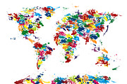 World Map Canvas Art - World Map Paint Drops by Michael Tompsett