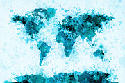 Map Posters - World Map Paint Splashes Blue Poster by Michael Tompsett