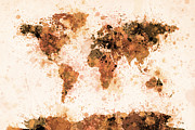 Brown Framed Prints - World Map Paint Splashes Bronze Framed Print by Michael Tompsett
