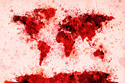 Country Framed Prints - World Map Paint Splashes Red Framed Print by Michael Tompsett