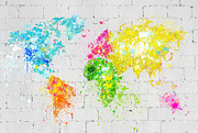 Splash Digital Art Posters - World Map Painting On Brick Wall Poster by Setsiri Silapasuwanchai