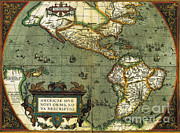 Old Map Photo Posters - World Map Poster by Photo Researchers