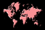 Planet Map Prints - World Map Pink Print by Andrew Fare
