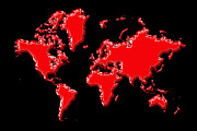 Planet Map Prints - World Map Red Print by Andrew Fare