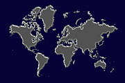 World Map Photos - World Map Silver by Andrew Fare