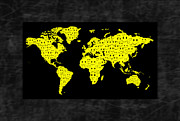 Smiley Faces Prints - World Map Smiles I Print by Daryl Macintyre