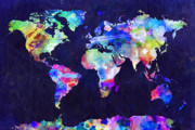 Panoramic Digital Art Metal Prints - World Map Urban Watercolor Metal Print by Michael Tompsett