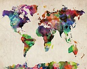 World Map Watercolor 16 X 20 Print by Michael Tompsett