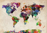 Urban Watercolor Digital Art Metal Prints - World Map Watercolor Metal Print by Michael Tompsett
