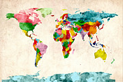 Planet Map Digital Art Prints - World Map Watercolors Print by Michael Tompsett