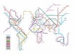 Transportation Tapestries Textiles Prints - World Metro Map Print by Michael Tompsett