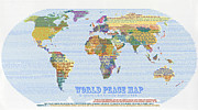 Font Map Digital Art Prints - World Peace Map-Scripture Print by Anne Cameron Cutri