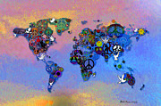 World Map Digital Art Acrylic Prints - World Peace Tye Dye Acrylic Print by Bill Cannon