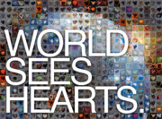 Hearts On Sidewalks Digital Art Posters - World Sees Hearts Poster by Boy Sees Hearts