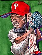 Hamels Drawings Framed Prints - World Series MVP Framed Print by Robert  Myers