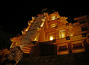 Night Pyrography Prints - World Showcase - Mexico Pavillion Print by AK Photography