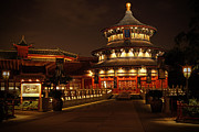 Night Pyrography Prints - World Showcase - China Pavillion Print by AK Photography