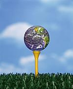 Golf Ball Posters - World Teed Up Poster by Gerard Fritz