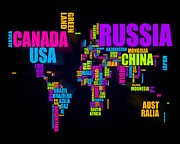 World Digital Art Metal Prints - World Text Map 16x20 Metal Print by Michael Tompsett