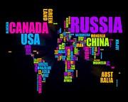 World Text Map 16x20 Print by Michael Tompsett