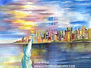 Patriotism Paintings - World Trade Center by Gina Mikel