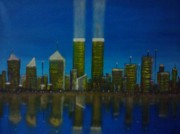 11 Wtc Painting Metal Prints - World Trade Center Metal Print by Jason Walburn
