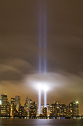 Memorial Photography Framed Prints - World Trade Center Tribute In Light Framed Print by Eileen O