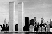 New York City Skyline Framed Prints - World Trade Center, Twin Towers, 1976 Framed Print by Everett
