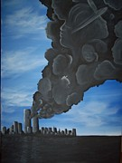 Twin Towers Trade Center Painting Metal Prints - World Trade Memorial painting Metal Print by Hollie Leffel