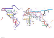 Tube Map Posters - World Tube / Subway / Metro Map Poster by Stephen Gowland